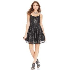 American Rag Black Silver Bow Metallic Lace Dress